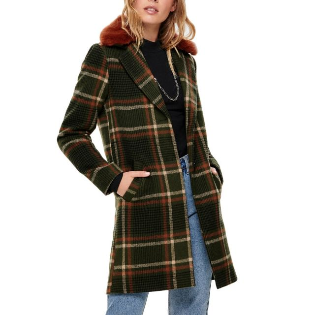 ONLY CHECKED WOOL COAT 15182144