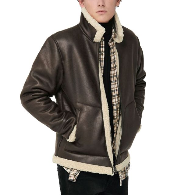 ONLY&SONS GIACCA LEATHER LOOK JACKET 22017755