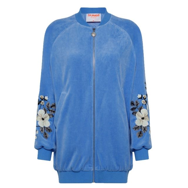 SUN68 BOMBER EMBRODERY CHENILLE BLUE F41237-12